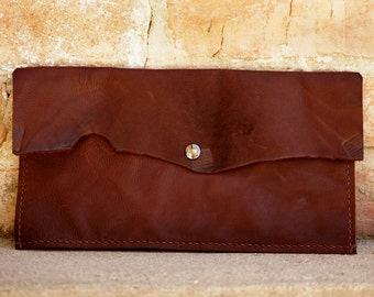 GRAND OPENING SALE! Brown Leather Clutch/ Pocket Clutch/ Brown Clutch