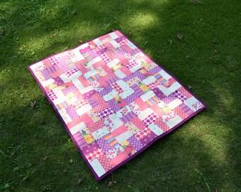 Purple, Pink, Cream Baby Quilt