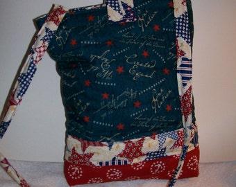Red white and blue, stars, patriotic longuagr tech bag.  ip401