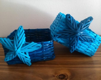 Baskets blue made in paper recycling