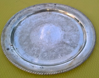 "Vintage 1920's Wm Rogers silver plated large round platter 16"" diameter"