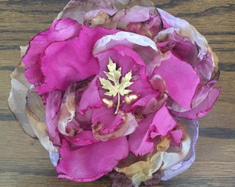 Rose Fabric Flower Pin Hairpiece - Mauve and Beige with Vintage Leaf Center