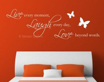 Live Laugh Love Quote & Butterflies Wall Art Sticker