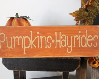 Fall Pumpkin Hayrides Wood Sign, Message Block, Thanksgiving, Fall Sign, Holiday Sign, Rustic Sign, Farmhouse Sign, Family Sign, Love