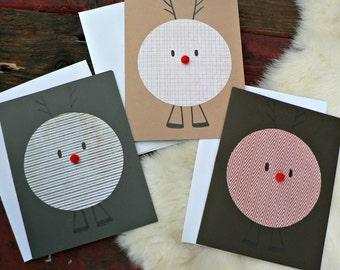 Christmas Deer Card Set - Handmade -  Blank Cards