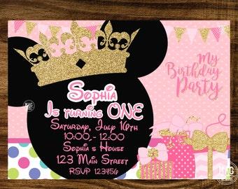 Minnie Mouse Invitation, Minnie Mouse Birthday Invitation, Birthday Invitation, Pink and Gold.