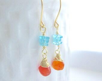 Carnelian Earrings, apatite earrings,Orange Earrings, Aqua blue earrings , gift women,gemstone earrings, gift for her,gift for mom