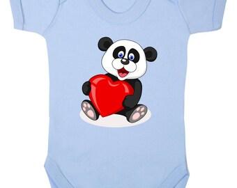 Cute Panda with Heart Bodysuit Baby Breast Feeding
