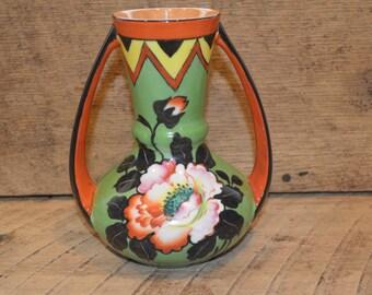 Vintage Flower Vase Hand Painted, Japanese Vase , Trico China Nagoya Japan , Vintage Green and Orange Vase, Mid Century Modern Vase