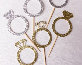Cupcake toppers Diamond Ring (Silver & Gold)