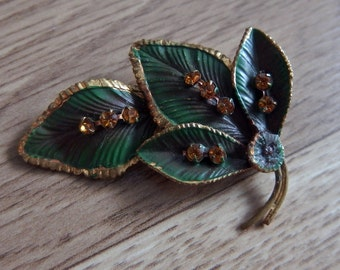 Vintage Brooch 50s 1950s leaf metal green