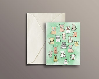 "Dog Lovers Card, Blank Greeting Card, 4""x 5"""