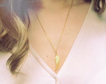 Gold Angel Wing Necklace, Gold Necklace, Angel Wing Necklace