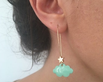 """Star clouds"" color turquoise blue and gold earrings"