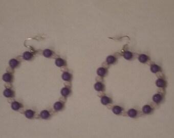 Purple Beaded Hoop Earrings