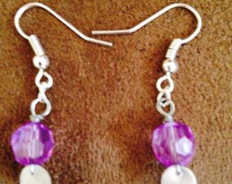 Purple glass bicones Earrings
