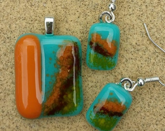 Turquoise Blue Jewelry - Fused Glass Jewelry Set - Multicolored Jewelry - Teal Pendant - Teal Earrings - Glass Dangle Earrings
