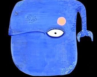 Blue whale painting on paper original painting gouache 21.5 cm x 14 cm