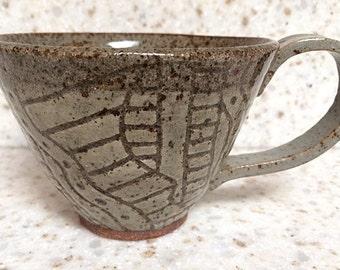 Handmade, hand-carved stoneware ceramic mug, rustic one-of-a-kind pottery mug