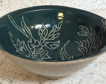 Handmade ceramic pottery bowl, porcelain-blend ceramic bowl with carved floral design