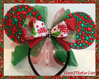 Disney Christmas Red Green Candy Rhinestone Bedazzled Bling Disney Christmas Ear Rhinestone Minnie Mickey Mouse Ears