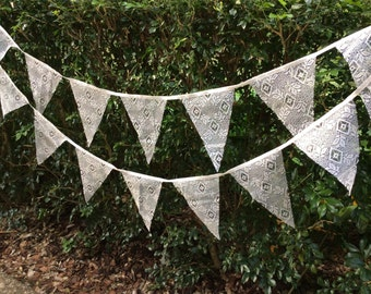 Lace Bunting, Wedding lace bunting, Vintage look lace bunting, hanging decorations, lace garlands