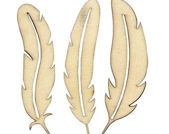 3 silhouettes feathers raw wood support pen
