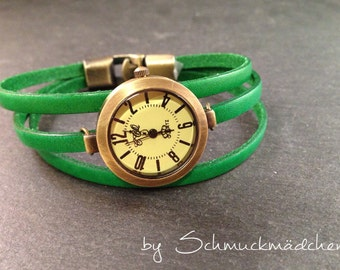 Watch bronze leather Green