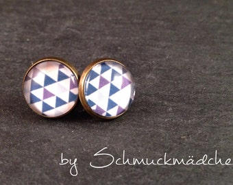 Studs bronze triangle blue