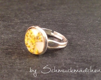 Ring silver dill flower yellow