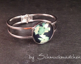 Bangle silver floral turquoise