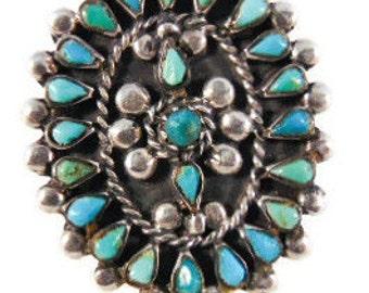Large vintage NAVAJO teardrop turquoise cluster ring M17, 5