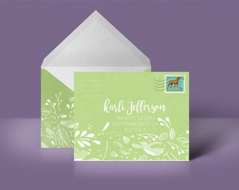 Green Custom Printable Envelope Stationery Woodland Pattern