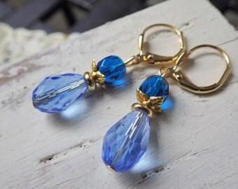 Blue Earrings ~ Sapphire Blue ~ Dangle Earrings ~ Small ~ Light Blue ~ Glass ~ by WakesTheDawn