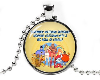 80s Cartoons Nostalgy Pendant Necklace with ball chain Fandom Jewelry Fangirl Fanboy