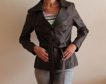 Women's Brown Leather Jacket Vintage Real Leather Jacket Genuine Leather Jacket Wrap Leather Jacket Belted Fitted Leather Coat Medium Size