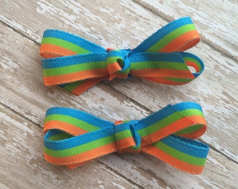 Set of 2 baby hair bows, toddler hair bows, blue and orange bow