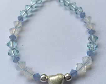 Light blue heart Bead Bracelet