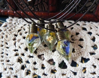 Miniature Preserved Flower Antique Bronze Vial Necklaces with Brown Cord
