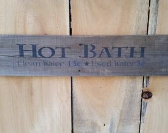 Rustic Wooden Bath Sign