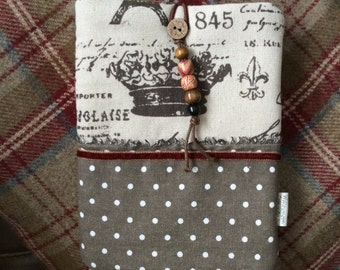 Hand made iPad mini / kindle cover in brown or burgundy - Beaded Dot & Paris