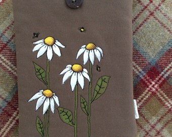 Hand painted, hand made Kindle Fire / iPad mini cover - Daisies & Bees
