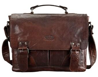 Men's files business bag Baggie bag Pocket L shoulder bag laptop specialist vintage retro style brown leather