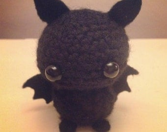 Wayne the Bat amigurumi keychain crochet black