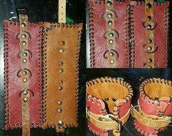 Handmade burgandy and brown leather handcuffs