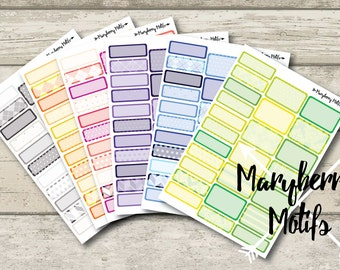 Large and Small Blank Sticker Boxes for Planners - Custom Colors