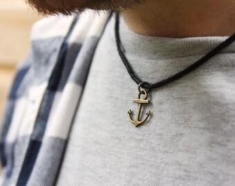 Men's Anchor Necklace, Anchor Pendant, Men's Necklaces, Beach Necklace, Surfer Necklace, Men's Jewellery, Nautical Necklace