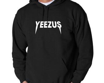 Yeezus White Logo Hoodie Kanye West Hip Hop Classic Yeezy New Sweatshirt Uni-Sex Adult Pullover Hooded Chicago Rapper K. West Yeezys Tour