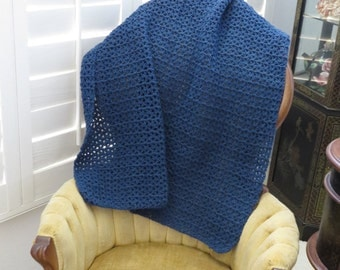 Blue Crocheted Blanket