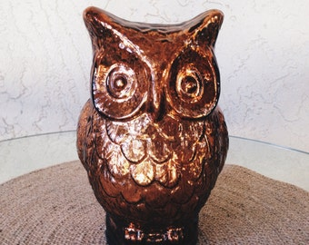 Bronze Mercury Glass Owl Figurine
